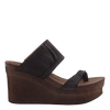 Brookfield womens wedge in Dark Brown Mesh outside view