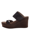 Brookfield womens wedge in Dark Brown Mesh inside view