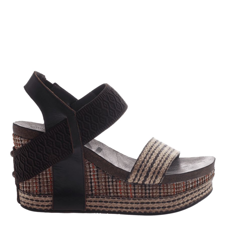 Women's wedge Bushnell in Dark Brown Fabric