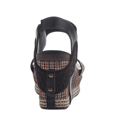 Women's wedge Bushnell in Dark Brown Fabric back view
