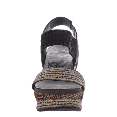 Women's wedge Bushnell in Dark Brown Fabric front view