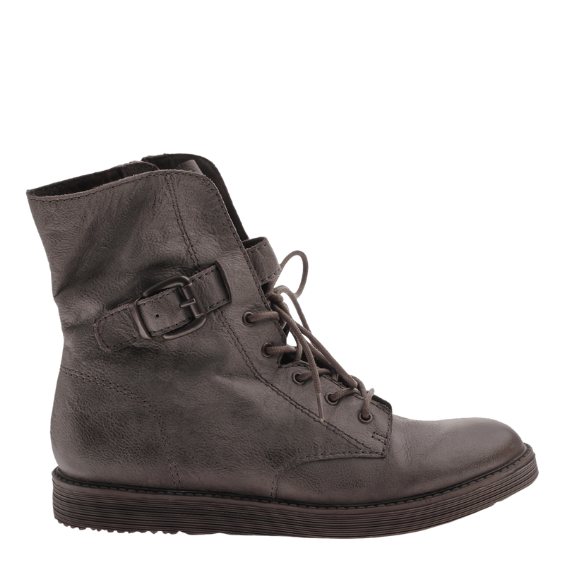 Women's leather combat boot Brentsville in Cement