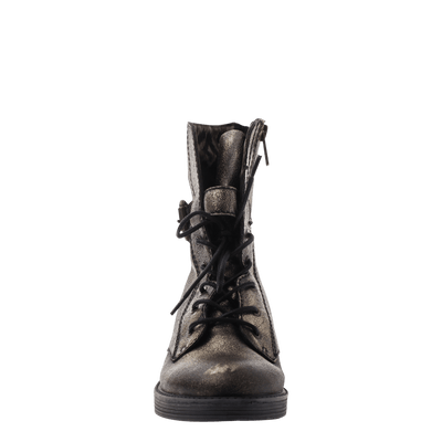 Women's leather combat boot Brentsville in gold front view