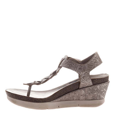 Graceville wedge in light pewter inside view