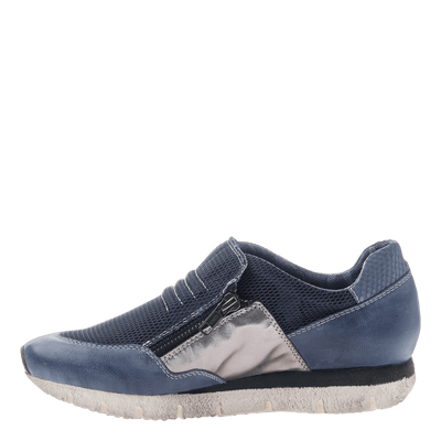 Sewell women's double zip up sneaker in blue inside view