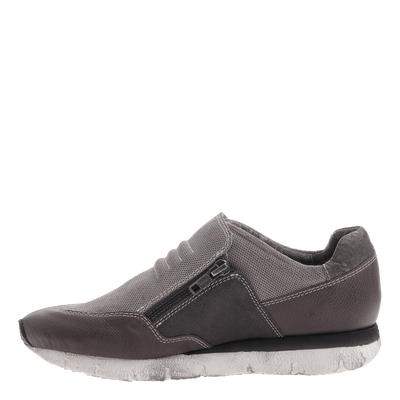 Sewell double zipper sneaker in grey side view