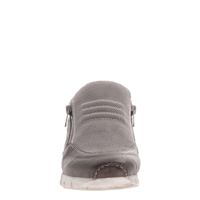 Sewell double zipper sneaker in grey front view