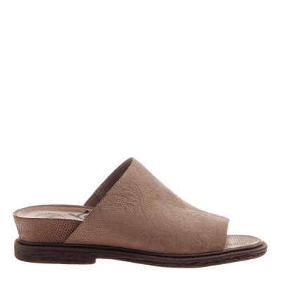 Women's flat slide drifter in elmwood side view