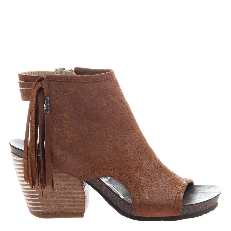 OTBT, Free Spirit, New Tan, Fringe ankle bootie with an open toe and heel