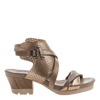 Take Off block heel sandal in Gold side view