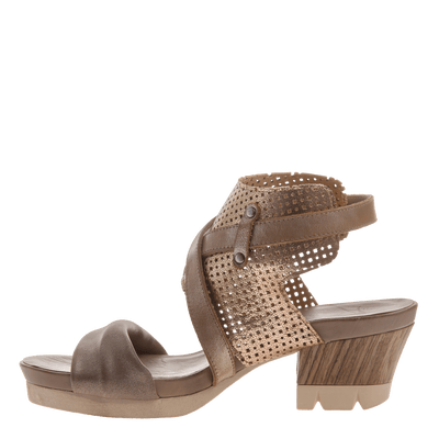 Take Off block heel sandal in Gold inside view