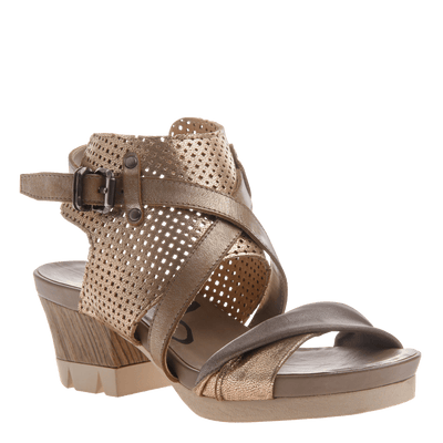 Take Off block heel sandal in Gold