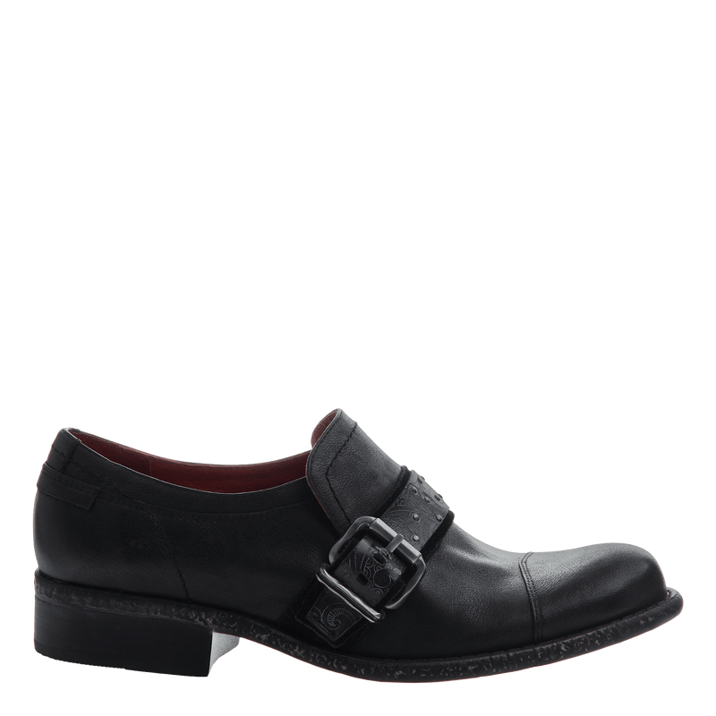 Women's oxford loafer straggler in black