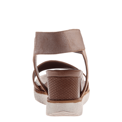 Cosmos wedge in mid taupe back view