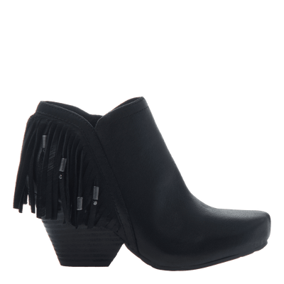 Women's fringe ankle bootie folkloric in black side view