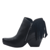 Women's fringe ankle bootie folkloric in black  inside view