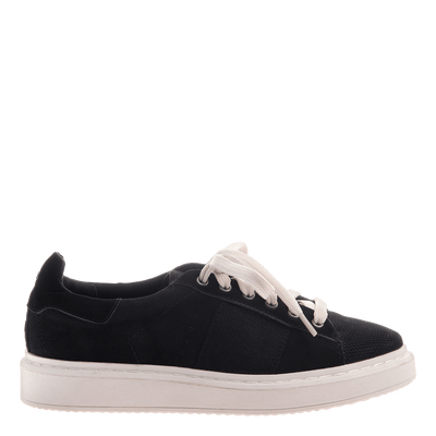 Normcore women's sneaker in black side view