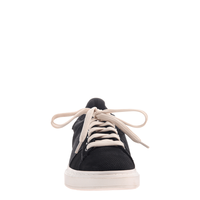 Normcore women's sneaker in black front view