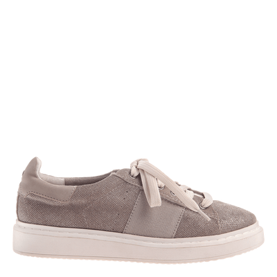 Normcore women's sneaker in Grey Silver side view