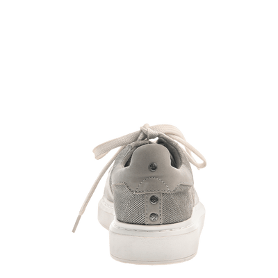 Normcore women's sneaker in Grey Silver back view