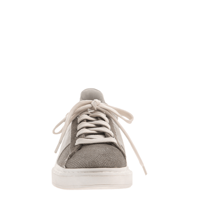Normcore women's sneaker in Grey Silver front view