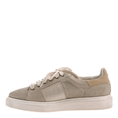 Normcore women's sneaker in Mid Taupe inside view