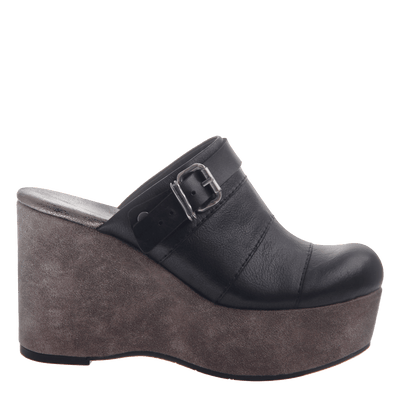 Womens platform wedge Journey in Black side view