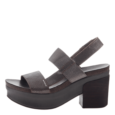 Indio Women's Stacked Heel in Pewter outside view