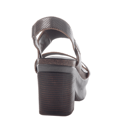 Indio Women's Stacked Heel in Pewter back view