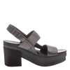 Indio Women's Stacked Heel in Pewter inside view
