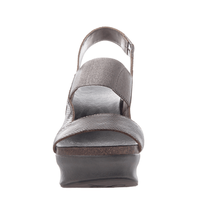 Indio Women's Stacked Heel in Pewter front view