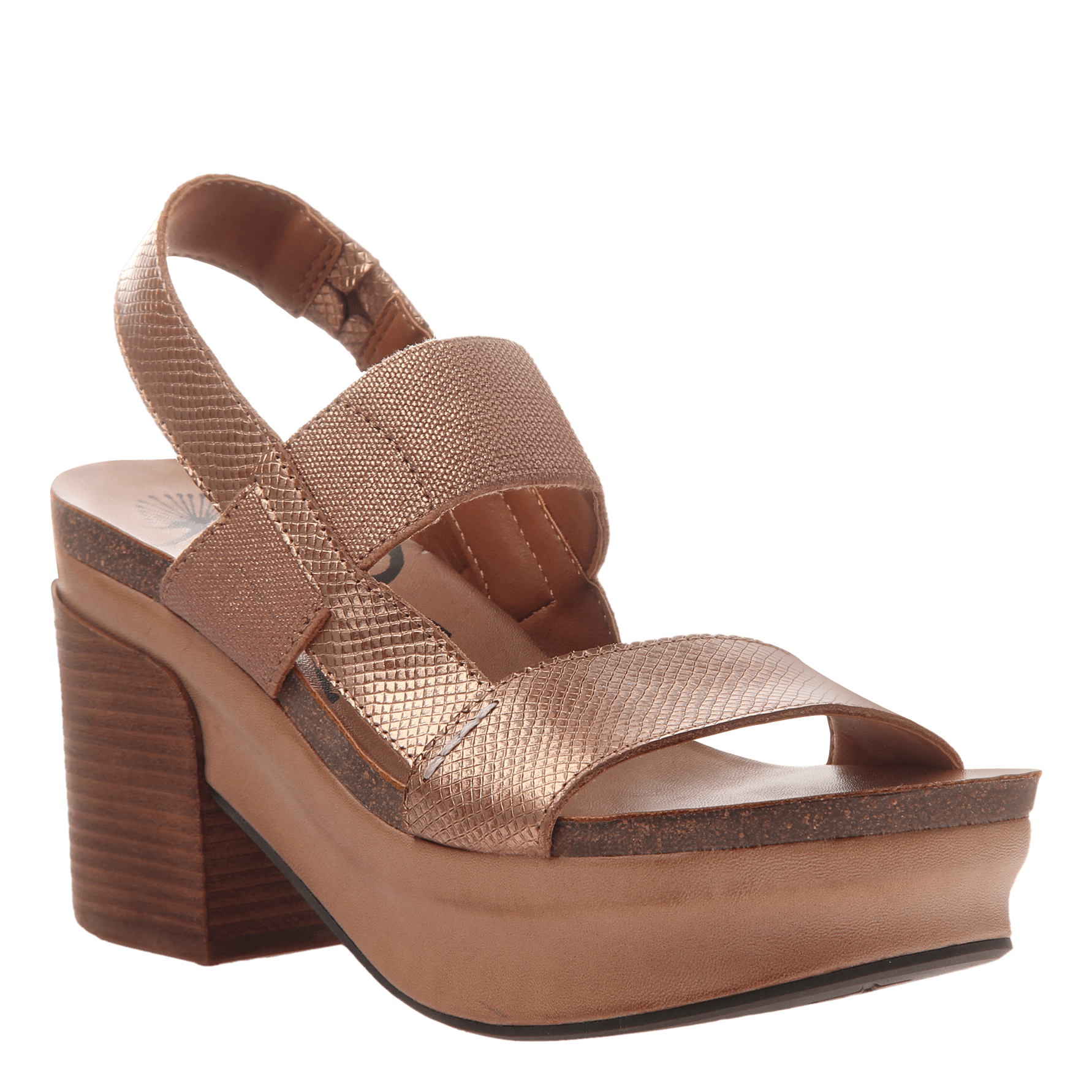 Indio stacked heel in copper