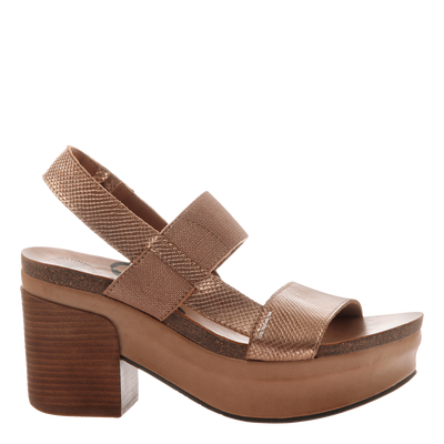 Indio stacked heel in copper outside view