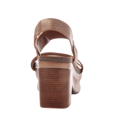 Indio stacked heel in copper back view