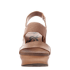 Indio stacked heel in copper front view