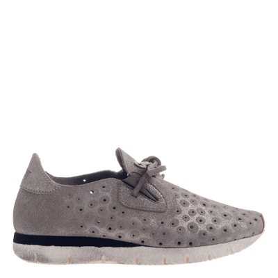 Lunar women's sneaker in Grey Silver outside view