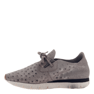 Lunar women's sneaker in Grey Silver inside view