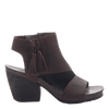 Womens heeled bootie flower child in coco powder side view