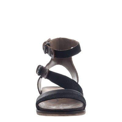 March On women's sandal in black front view