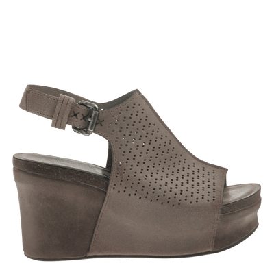 Womens platform wedge jaunt in grey pownder side view