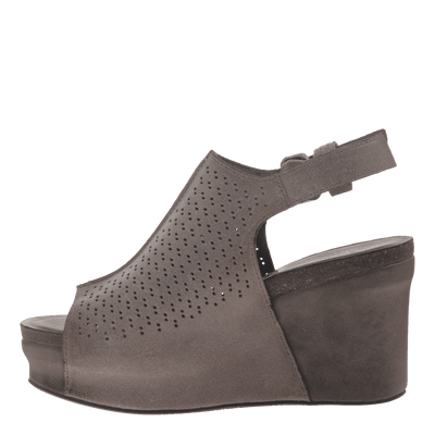 Womens platform wedge jaunt in grey pownder inside view
