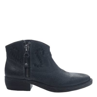 Women's western bootie the trek in black side view