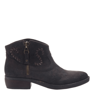 Women's western ankle bootie the Trek in Mocha side view