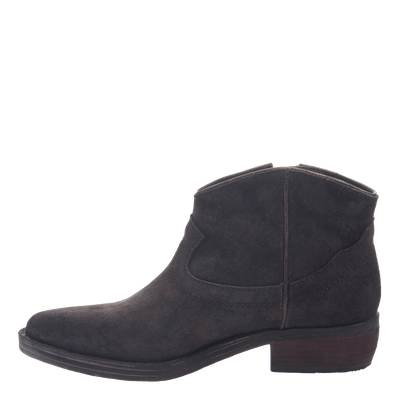 Women's western ankle bootie the Trek in Mocha side view  inside view