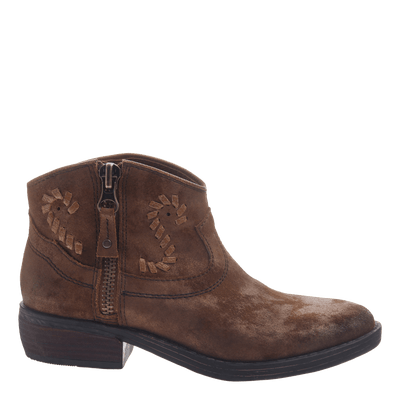 Women's western ankle bootie the Trek in Tobacco side view