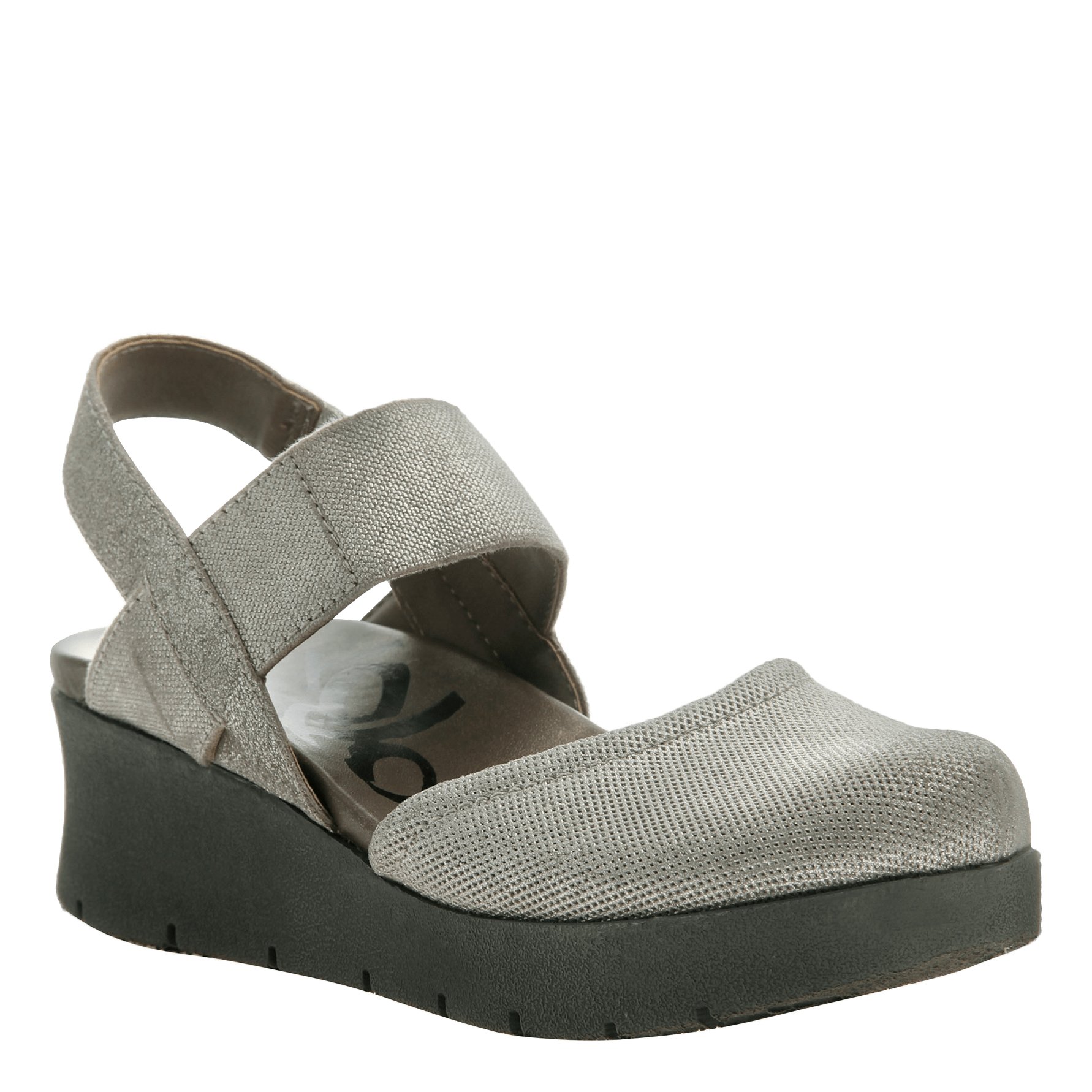 Women's low strappy wedge the roadie in grey silver
