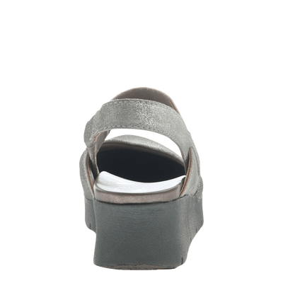Women's low strappy wedge the roadie in grey silver back view