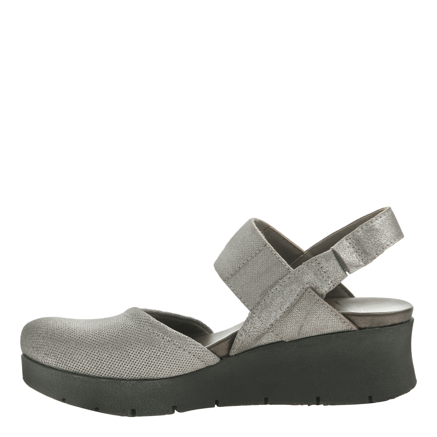 fcd0796810ab Womens low strappy wedge the roadie in grey silver inside view png  1782x1782 Black low wedges