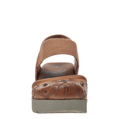 Womens platform mary jane Roadie in tobacco front view