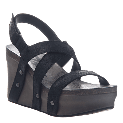 Womens wedge sandals Sail in black suede